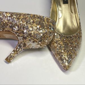 WHBM Sequin Heels w/ leather outsole 8 1/2M